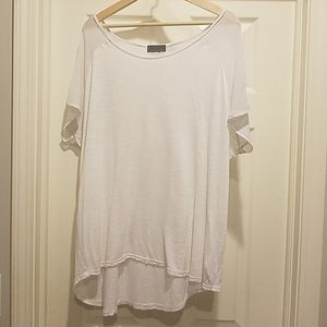 Womens all white mixed fabric sheer blouse